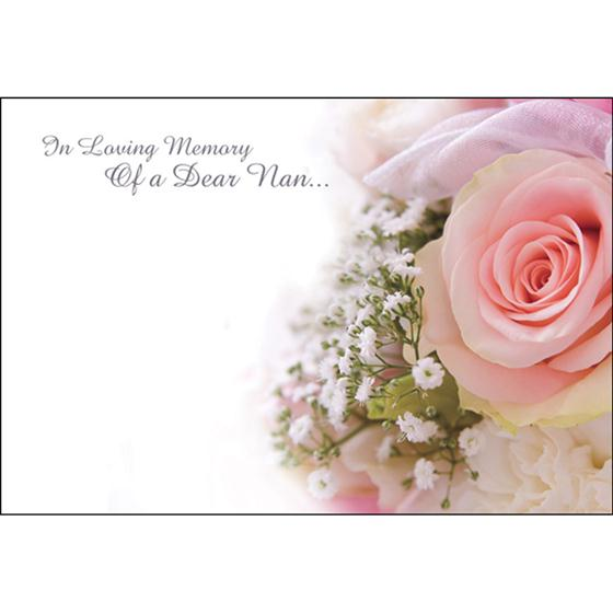 In Loving Memory Of A Dear Nan Funeral Card Item Code