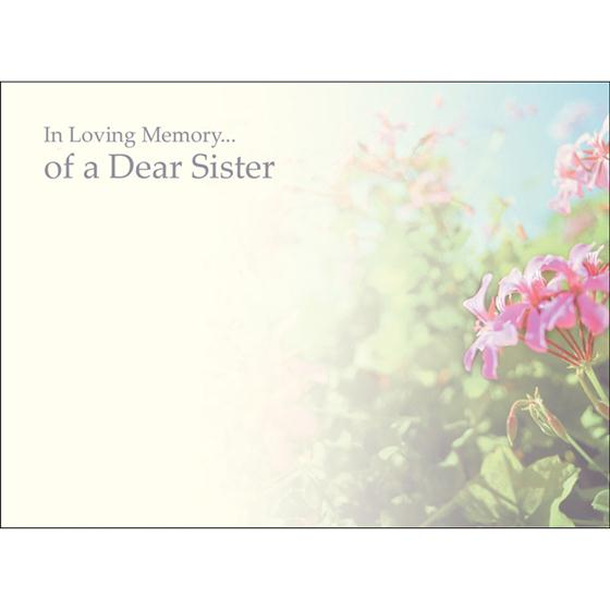 In Loving Memory Of A Dear Sister Large Funeral Message